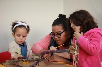 Atividade de pintura. O relato da professora Danusa Moura, sobre a experiência em educação infantil inclusiva, foi agraciado pelo Prêmio Paratodos de Inclusão Escolar 2017.